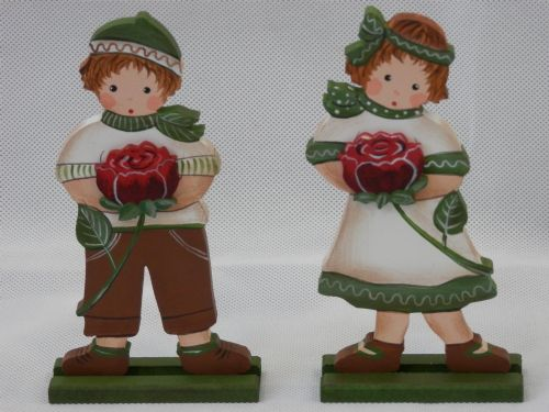 Dark Red Rose Children - Set of 2 - Medium